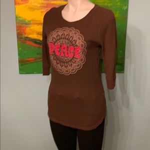 Women's Lucky Brand Peace Long Sleeve Shirt Size L